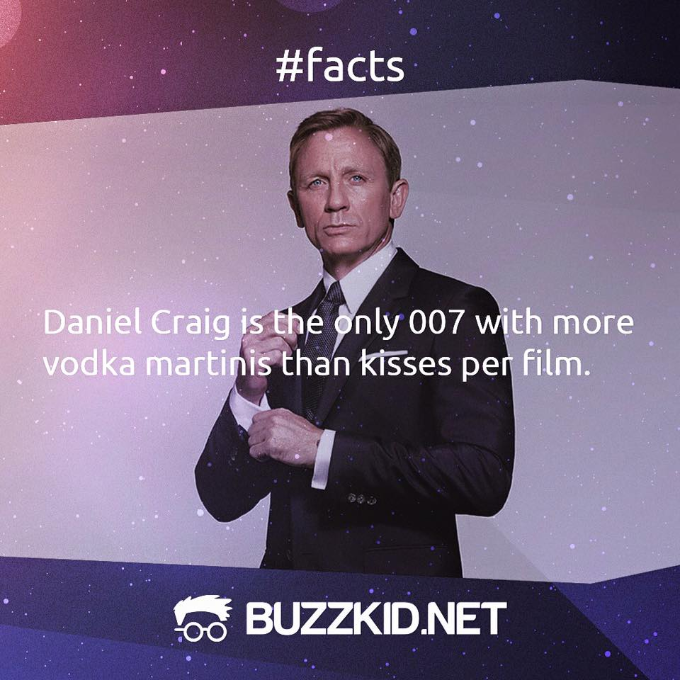Daniel Craig is the only Bond with more drinks than kisses