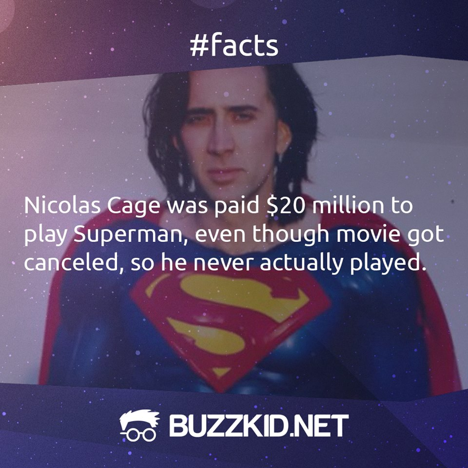 Nicolas Cage was paid 20 million to play superman