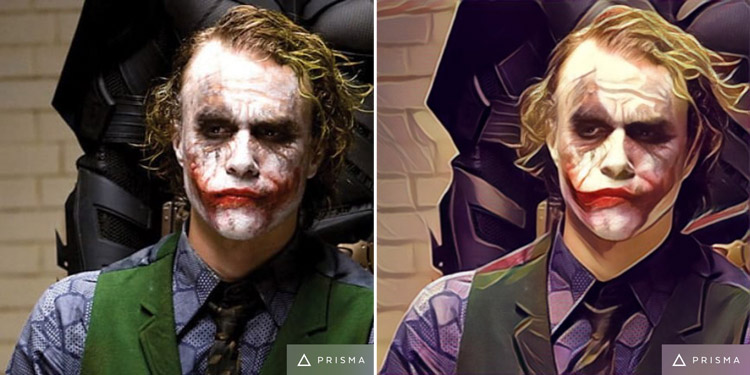 Batman and Joker from The Dark Knight Movie Transformed by Prisma app