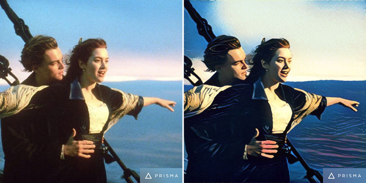 Famous Titanic movie scene turned into art by Prisma app