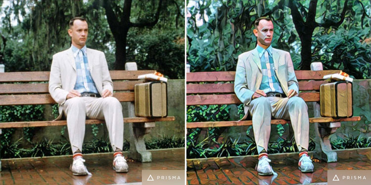 Forrest Gump movie scene turned into art by Prisma app