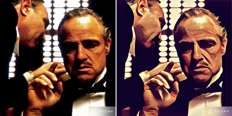 Don Vito Corleone from The Godfather Transformed by Prisma app